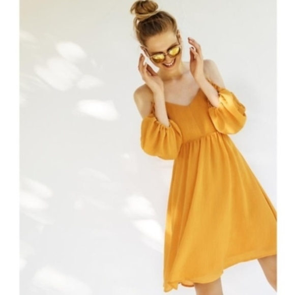 Anthro Carina Mango Open Shoulder dress